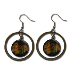 Chicago Blackhawks NHL Hoop Logo Earrings - Thumbnail 0