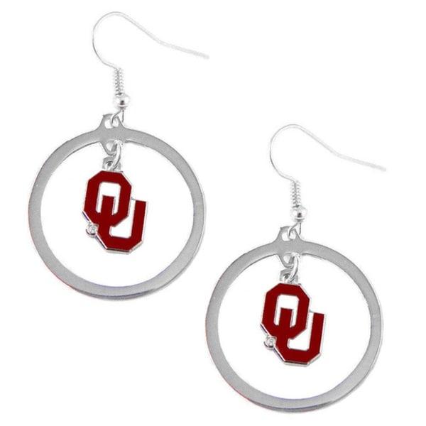 Stainless Steel NCAA Oklahoma Sooners Logo Hoop Earring Set