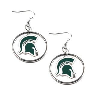 Stainless Steel NCAA Michigan State Spartans Logo Hoop Earring Set
