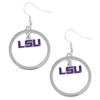 Stainless Steel NCAA LSU Tigers Logo Hoop Earring Set