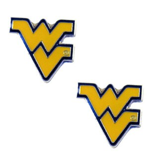 Stainless Steel NCAA West Virginia Mountaineers Logo Post Stud Earrings