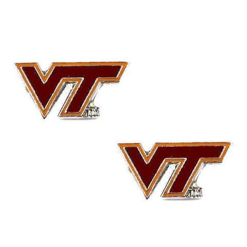 Stainless Steel NCAA Virginia Tech Hokies Logo Post Stud Earrings