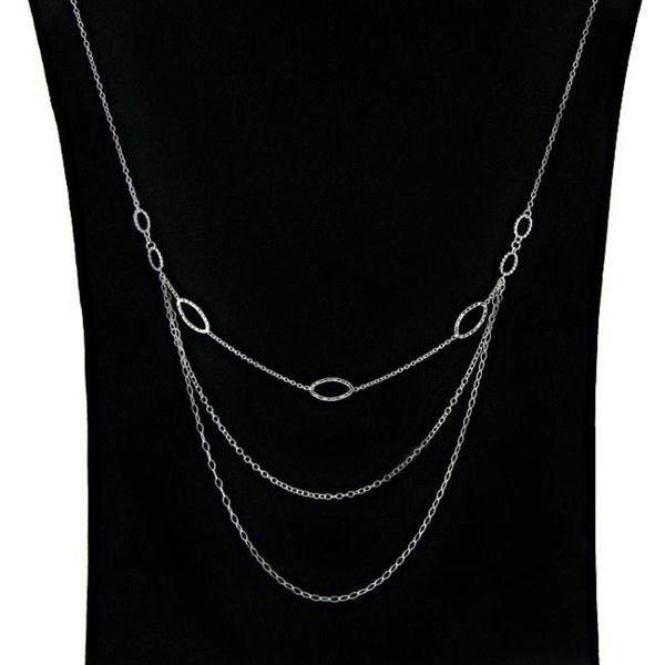 Dolce Giavonna Sterling Silver 30-inch 3-tier Trend Necklace (1 mm)