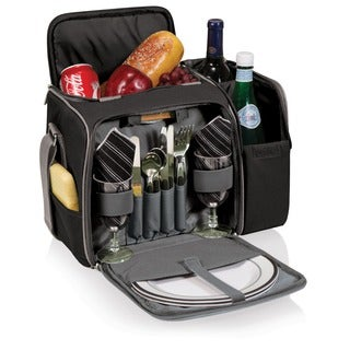 Malibu Picnic Tote Basket Cooler - Black with Silver Grey