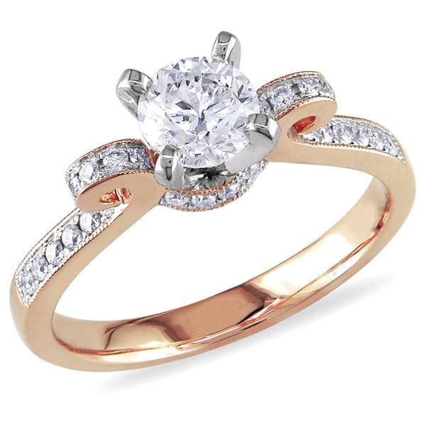 Miadora 14k Rose Gold 1ct TDW Diamond Bow Ring (G-H,I1-I2)