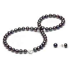 """DaVonna Sterling Silver 8-9mm Black Freshwater Pearl Necklace and Earring Jewelry Set with Gift Box  18"""""""