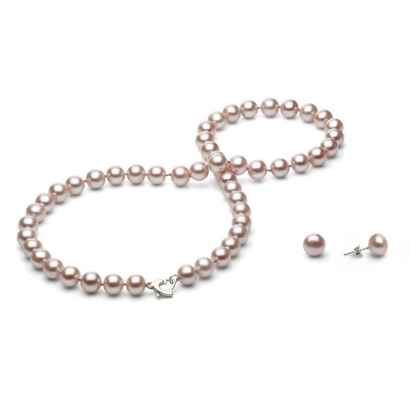 Davonna Silver Pink Fw Pearl Necklace And Earring Set With Gift Box 8 9