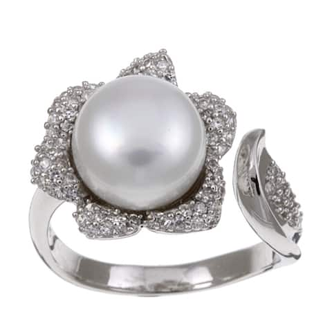 Kabella Sterling-Silver Button-Shaped Freshwater Pearl and Cubic Zirconia Ring (9-10 mm)