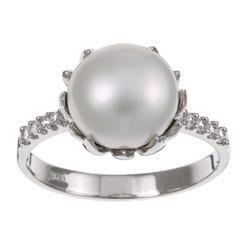 Kabella Sterling Silver Freshwater Pearl and Cubic Zirconia Ring (9-10 mm)