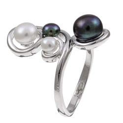 Kabella Sterling Silver White and Black Button Freshwater Pearl Ring (7 mm) - Thumbnail 1