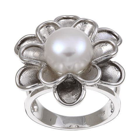 Kabella Sterling Silver Button Freshwater Pearl Flower Ring (10.5 mm)