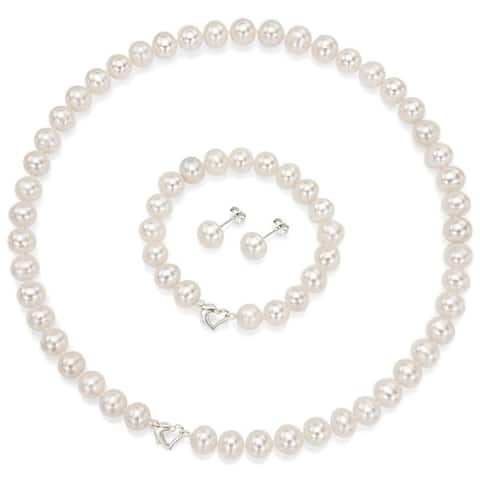 DaVonna Sterling Silver Freshwater Pearl Necklace Bracelet and Earring Set - White