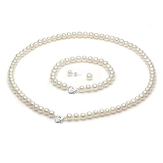 """DaVonna Sterling Silver Freshwater Pearl Necklace Bracelet and Earring Set with Gift Box 18"""""""