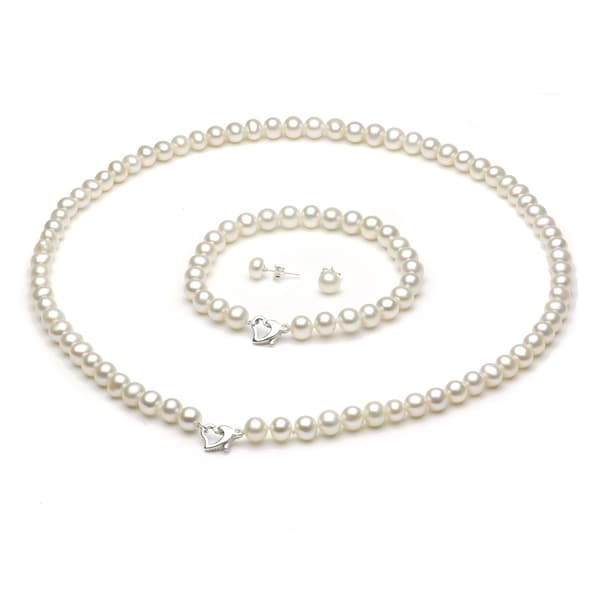 DaVonna Sterling Silver Freshwater Pearl Necklace Bracelet and Earring Set with Gift Box 18""