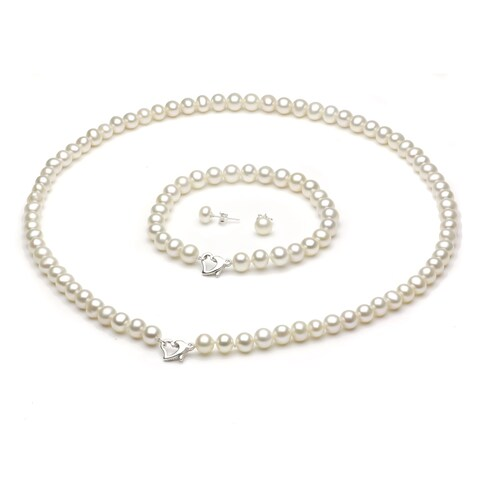 """DaVonna Sterling Silver Freshwater Pearl Necklace Bracelet and Earring Set 18"""" - White"""