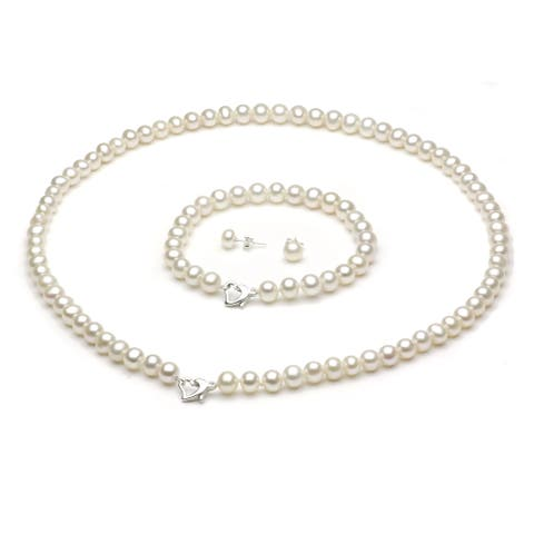 "DaVonna Sterling Silver Freshwater Pearl Necklace Bracelet and Earring Set 18"" - White"