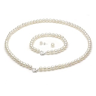 "DaVonna Sterling Silver Freshwater Pearl Necklace Bracelet and Earring Set with Gift Box 18"" - White"