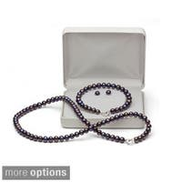 DaVonna Silver FW Pearl Necklace Bracelet and Earring Set with Gift Box - White