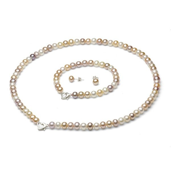 Davonna Silver Freshwater Pearl Necklace Bracelet And Earring Set With Gift Box