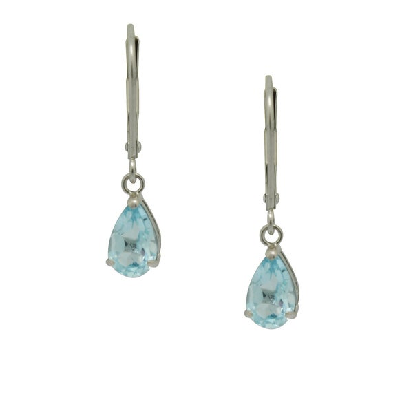 Gioelli 10k White Gold Pear-cut Blue Topaz Leverback Earrings