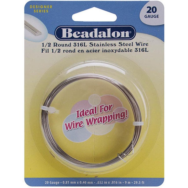 Beadalon Stainless Steel Half Round 20-gauge Wrapping Wire