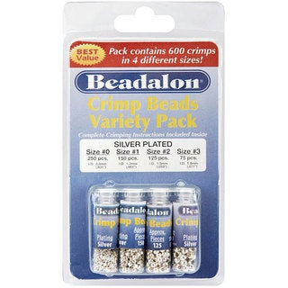 Beadalon Silverplated #0/1/2/3 Crimp Bead 600-piece Variety Pack