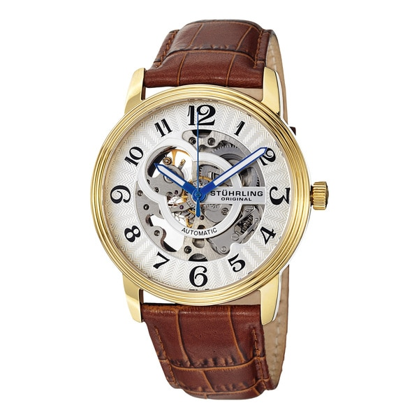 Stuhrling Original Men's 'Othello' Skeleton Automatic Watch with Embossed Leather Band