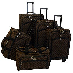 American Flyer 'Madrid' 5-Piece Brown Spinner Luggage Set