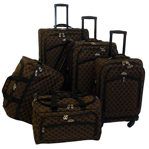 American Flyer 'Madrid' 5-Piece Brown Spinner Luggage Set - 17.5 inches long x 10 inches wide x 28 inches high