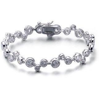 Collette Z Sterling Silver Round-cut CZ Desinger-inspired Tennis Bracelet