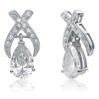 Collette Z Sterling Silver Pear-cut Clear CZ 'X' Bridal-style Earrings