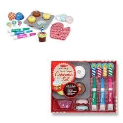 Melissa Kids' Wooden Play-food Bake and Decorate Cupcake Set - Thumbnail 1