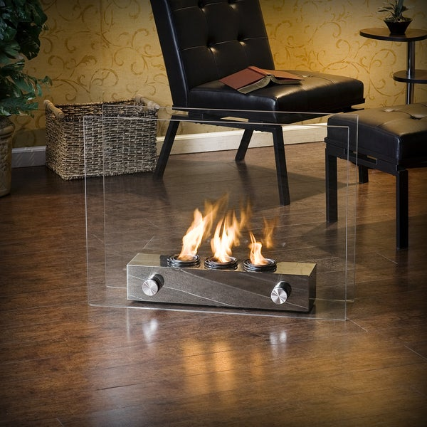 Loft Brushed Nickel Portable Indoor/ Outdoor Fireplace. Opens flyout.