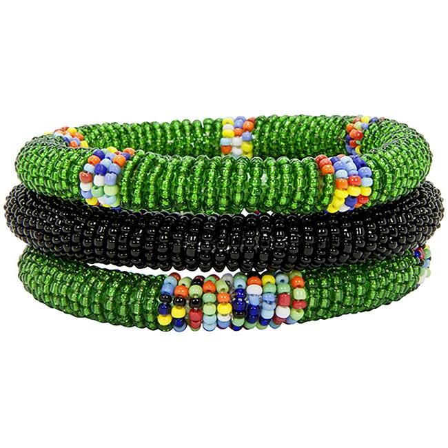 Set of 3 Green and Black African Bangles (Kenya)