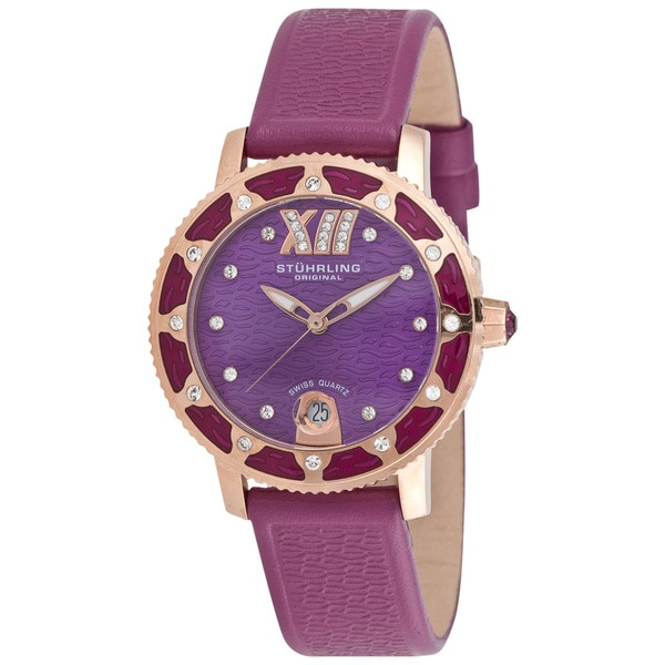 Stuhrling Women's 'Lady Marina' Plum Leather Watch