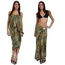 1 World Sarongs Women's Light Green and Tan Tiny Leaves Sarong (Indonesia)