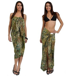 1 World Sarongs Women's Light Green and Tan Tiny Leaves Sarong (Indonesia)
