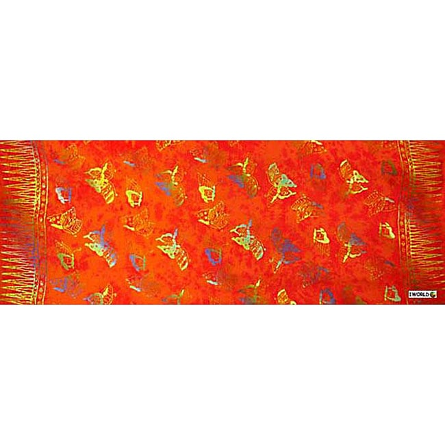1 World Sarongs Women's Orange and Multicolor Butterfly Half Sarong (Indonesia)