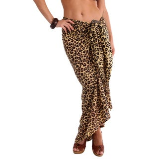 1 World Sarongs Women's Feline Light Leopard Print Sarong (Indonesia)