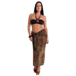 1 World Sarongs Women's Feline Dark Leopard Print Sarong (Indonesia)