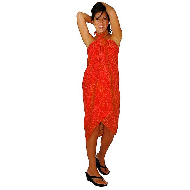 Handmade 1 World Sarongs Women's Orange Floral Sarong (Indonesia)