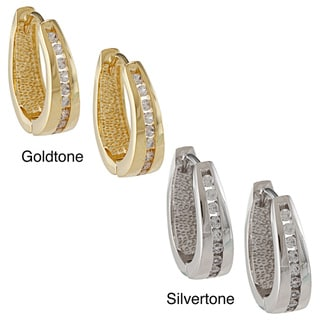 Kate Bissett Goldtone or Silvertone Round-cut Clear Cubic Zirconia Hoop Earrings