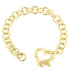 Kate Bissett 14k Gold Plated 7.5-inch Rolo Chain Heart Clasp Bracelet (12 mm)