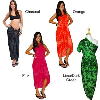 1 World Sarongs Women's Hand-crafted Lightweight Rayon-fringed Smoked Sarong (Indonesia)