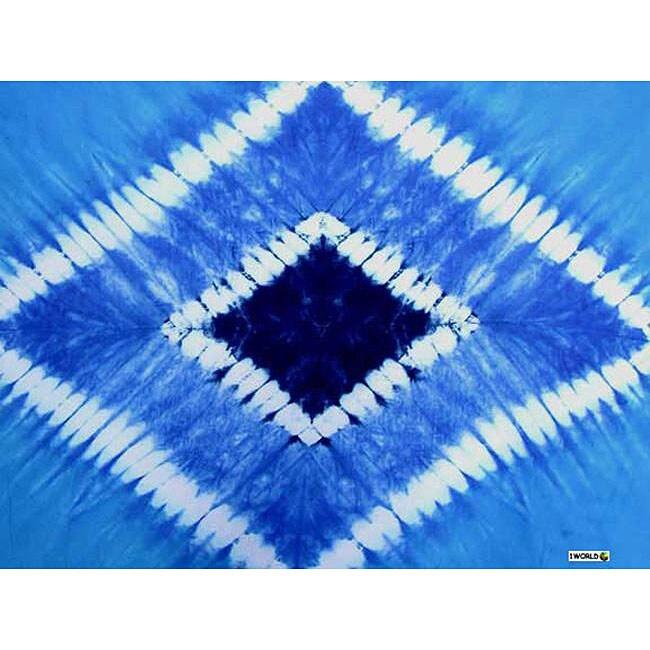 1 World Sarongs Women's Double Blue Diamond Tie-dye Sarong (Indonesia)