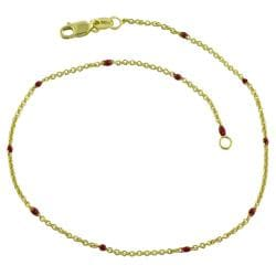 Fremada 14k Yellow Gold Red Bead Station Anklet
