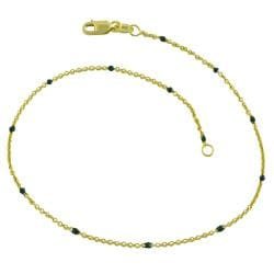 Fremada 14k Yellow Gold Green Bead Station Anklet