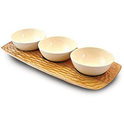Natural Acacia Wood 3-bowl Server (Thailand)