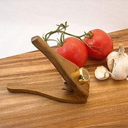 EcoTeak Lacquer-finished Wood Garlic Press (Thailand)