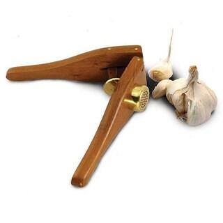 Handmade EcoTeak Lacquer-finished Wood Garlic Press (Thailand)